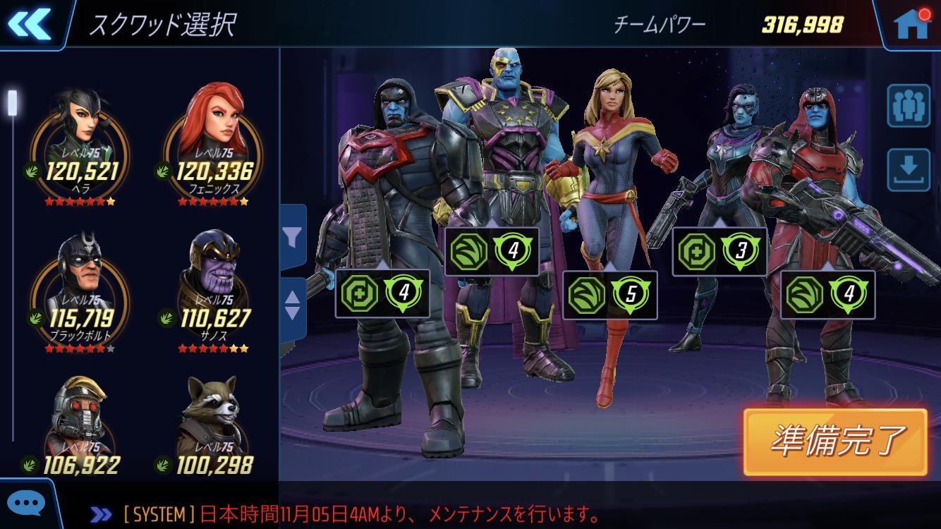 キャプテン・マーベルのチーム例①